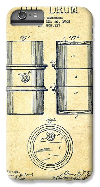 Drum iPhone 6s Plus Case - Oil Drum Patent Drawing From 1905 by Aged Pixel