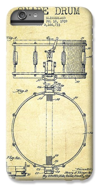 Drum iPhone 6s Plus Case - Snare Drum Patent Drawing From 1939 - Vintage by Aged Pixel