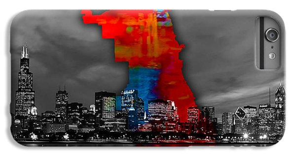Chicago Map And Skyline Watercolor IPhone 6s Plus Case by Marvin Blaine