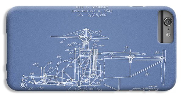 Helicopter iPhone 6s Plus Case - Sikorsky Helicopter Patent Drawing From 1943 by Aged Pixel