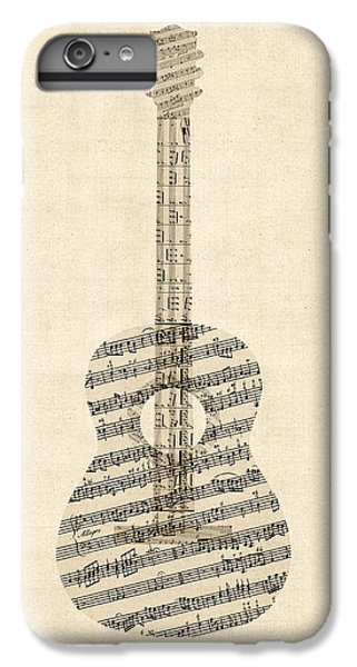 Guitar iPhone 6s Plus Case - Acoustic Guitar Old Sheet Music by Michael Tompsett