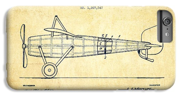 Airplane iPhone 6s Plus Case - Airplane Patent Drawing From 1918 - Vintage by Aged Pixel