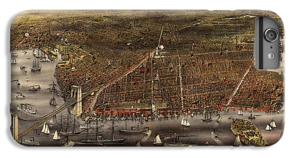 Brooklyn Bridge iPhone 6s Plus Case - Antique Map Of Brooklyn By Currier And Ives - Circa 1879 by Blue Monocle