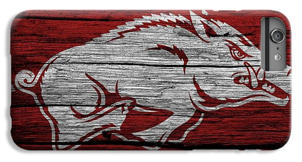University Of Arkansas iPhone 6s Plus Case - Arkansas Razorbacks On Wood by Dan Sproul
