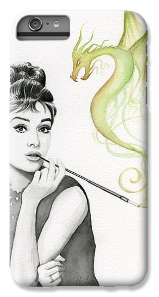 Audrey Hepburn iPhone 6s Plus Case - Audrey And Her Magic Dragon by Olga Shvartsur
