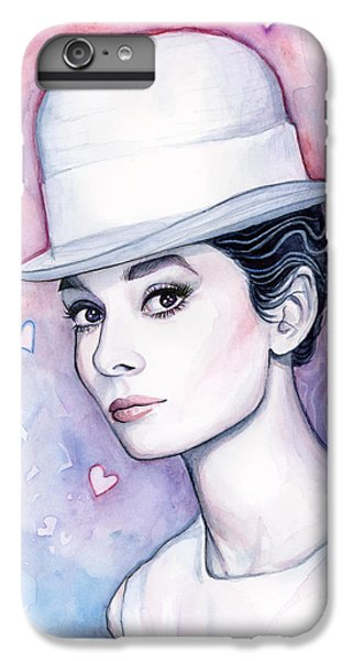 Audrey Hepburn iPhone 6s Plus Case - Audrey Hepburn Fashion Watercolor by Olga Shvartsur