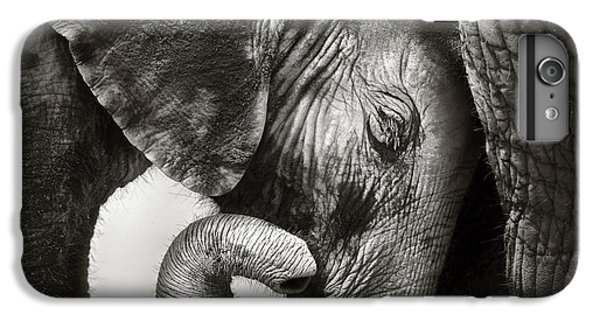 Cow iPhone 6s Plus Case - Baby Elephant Seeking Comfort by Johan Swanepoel