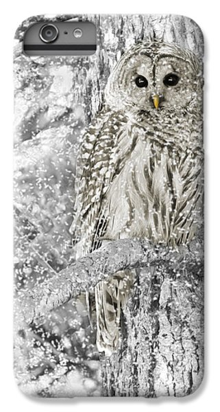 Bar iPhone 6s Plus Case - Barred Owl Snowy Day In The Forest by Jennie Marie Schell