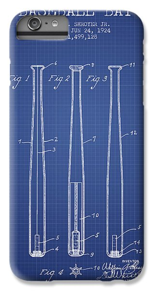 Softball iPhone 6s Plus Case - Baseball Bat Patent From 1924 - Blueprint by Aged Pixel