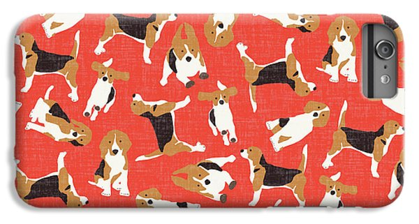 Beagle Scatter Coral Red IPhone 6s Plus Case by Sharon Turner
