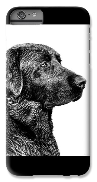 White iPhone 6s Plus Case - Black Labrador Retriever Dog Monochrome by Jennie Marie Schell