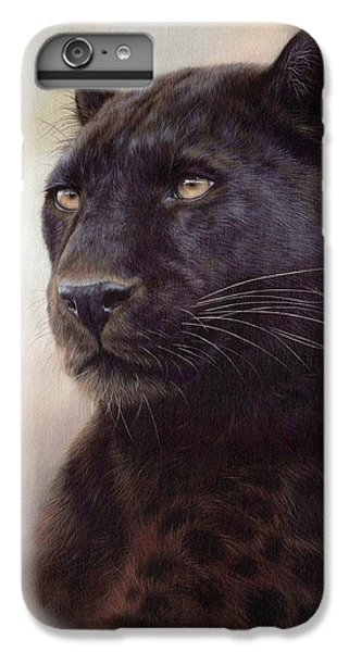 Black Leopard Painting IPhone 6s Plus Case by Rachel Stribbling