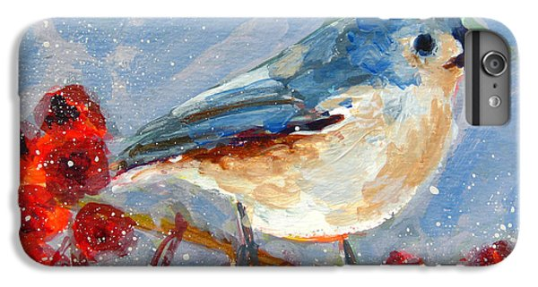 Blue Bird In Winter - Tuft Titmouse Modern Impressionist Art IPhone 6s Plus Case