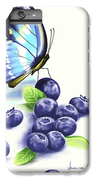 Blueberry iPhone 6s Plus Case - Blueberries And Butterfly by Veronica Minozzi