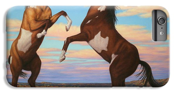 Pear iPhone 6s Plus Case - Boxing Horses by James W Johnson