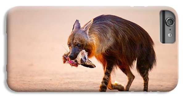 Bat iPhone 6s Plus Case - Brown Hyena With Bat-eared Fox In Jaws by Johan Swanepoel