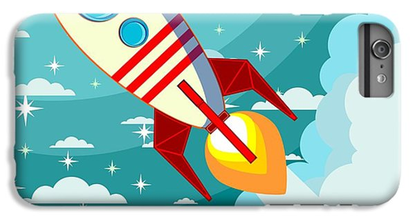 Fairy iPhone 6s Plus Case - Cartoon Rocket Taking Off Against The by Alekseiveprev