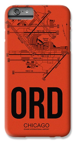Airplane iPhone 6s Plus Case - Chicago Airport Poster 1 by Naxart Studio
