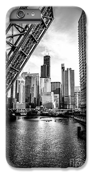 Train iPhone 6s Plus Case - Chicago Kinzie Street Bridge Black And White Picture by Paul Velgos