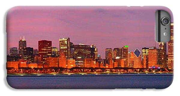 City Sunset iPhone 6s Plus Case - Chicago Skyline At Dusk 2008 Panorama by Jon Holiday