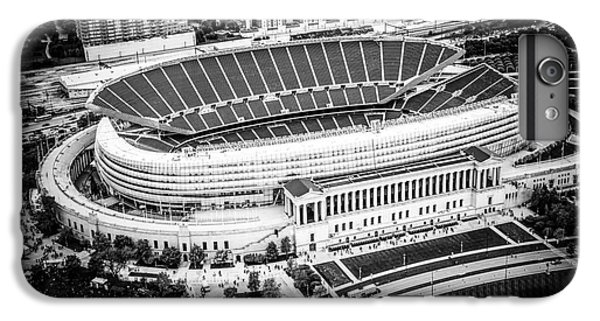 Soldier Field iPhone 6s Plus Case - Chicago Soldier Field Aerial Picture In Black And White by Paul Velgos
