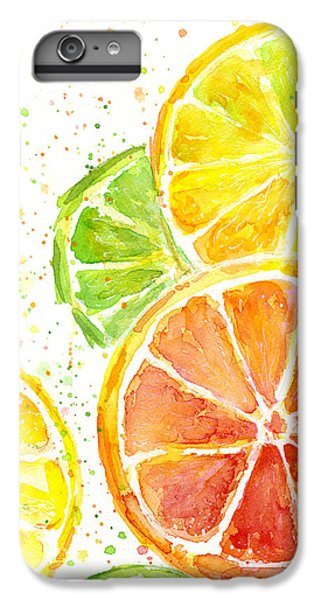Grapefruit iPhone 6s Plus Case - Citrus Fruit Watercolor by Olga Shvartsur