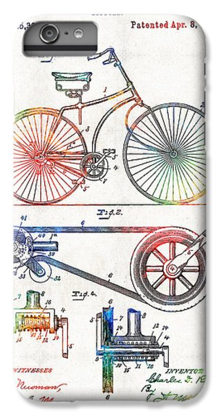 Bicycle iPhone 6s Plus Case - Colorful Bike Art - Vintage Patent - By Sharon Cummings by Sharon Cummings