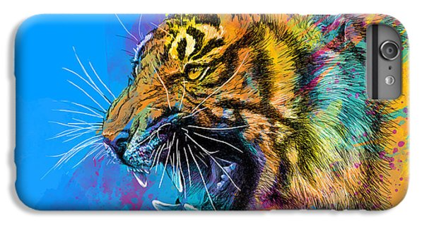 Animals iPhone 6s Plus Case - Crazy Tiger by Olga Shvartsur