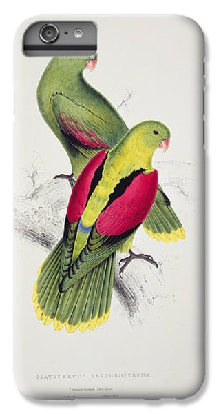 Parakeet iPhone 6s Plus Case - Crimson Winged Parakeet by Edward Lear