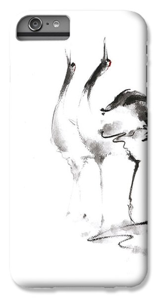 Crane iPhone 6s Plus Case - Dancing Cranes Japanese Artwork by Mariusz Szmerdt