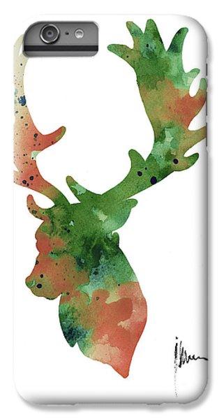 Deer iPhone 6s Plus Case - Deer Antlers Silhouette Watercolor Art Print Painting by Joanna Szmerdt