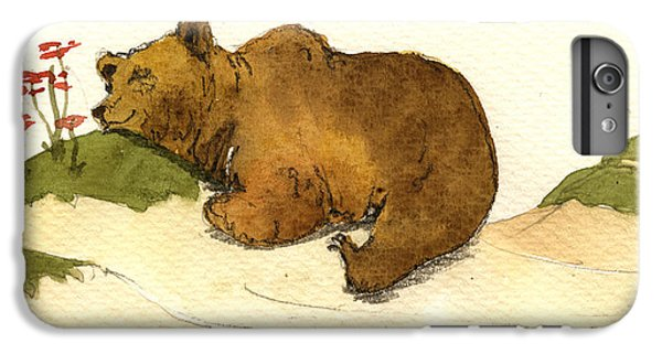 Mushroom iPhone 6s Plus Case - Dreaming Grizzly Bear by Juan  Bosco
