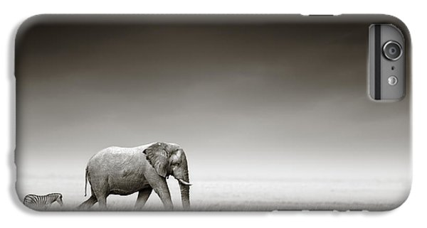Nature iPhone 6s Plus Case - Elephant With Zebra by Johan Swanepoel