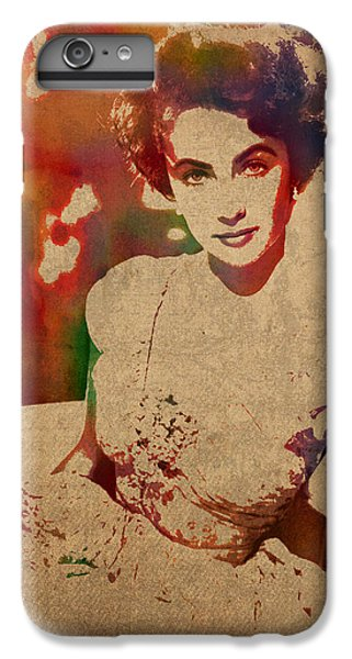 Liz Taylor iPhone 6s Plus Case - Elizabeth Taylor Watercolor Portrait On Worn Distressed Canvas by Design Turnpike
