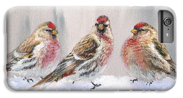 Snowy Birds - Eyeing The Feeder 2 Alaskan Redpolls In Winter Scene IPhone 6s Plus Case