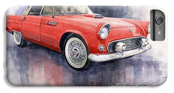 Car iPhone 6s Plus Case - Ford Thunderbird 1955 Red by Yuriy Shevchuk