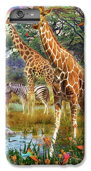 IPhone 6s Plus Case featuring the drawing Giraffes by Jan Patrik Krasny