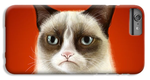 Cat iPhone 6s Plus Case - Grumpy Cat by Olga Shvartsur
