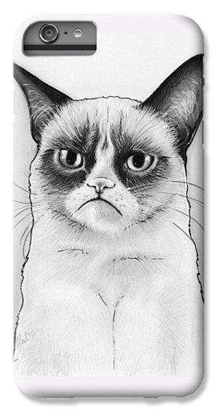 Cats iPhone 6s Plus Case - Grumpy Cat Portrait by Olga Shvartsur