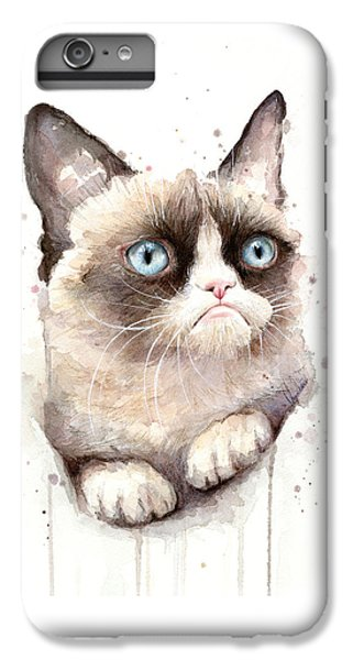 Cat iPhone 6s Plus Case - Grumpy Cat Watercolor by Olga Shvartsur