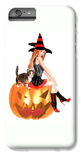 Luxmaris iPhone 6s Plus Case - Halloween Witch Nicki With Kitten by Renate Janssen
