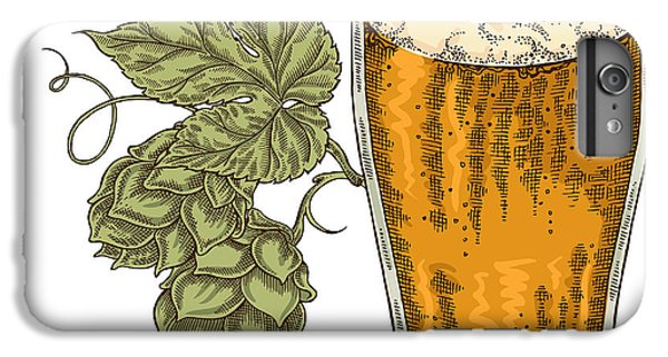 Bar iPhone 6s Plus Case - Hand Drawn Beer Glass With Hops Plant by Jka