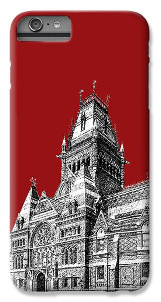 Harvard iPhone 6s Plus Case - Harvard University - Memorial Hall - Dark Red by DB Artist