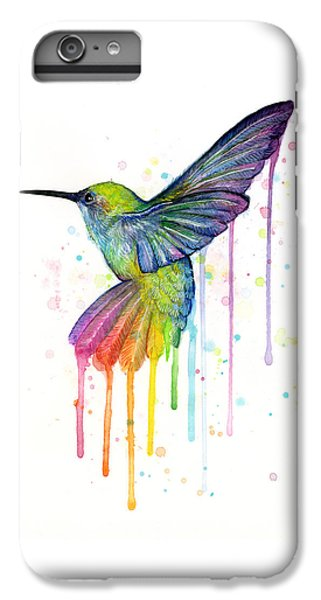Animals iPhone 6s Plus Case - Hummingbird Of Watercolor Rainbow by Olga Shvartsur