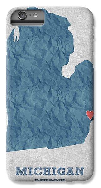 I Love Detroit Michigan - Blue IPhone 6s Plus Case by Aged Pixel