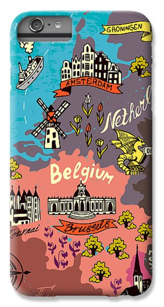 Castle iPhone 6s Plus Case - Illustrated Map Of The Netherlands by Daria i