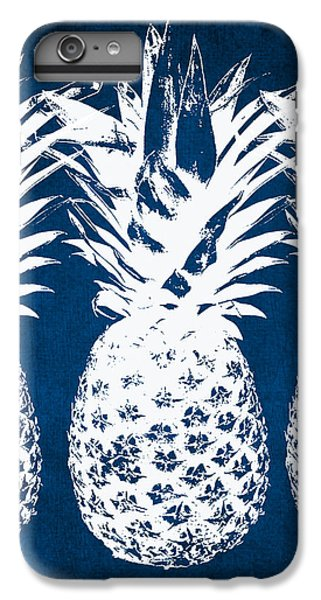 Wood iPhone 6s Plus Case - Indigo And White Pineapples by Linda Woods