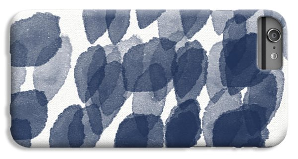Wood iPhone 6s Plus Case - Indigo Rain- Abstract Blue And White Painting by Linda Woods