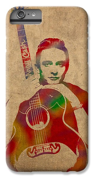 Johnny Cash iPhone 6s Plus Case - Johnny Cash Watercolor Portrait On Worn Distressed Canvas by Design Turnpike