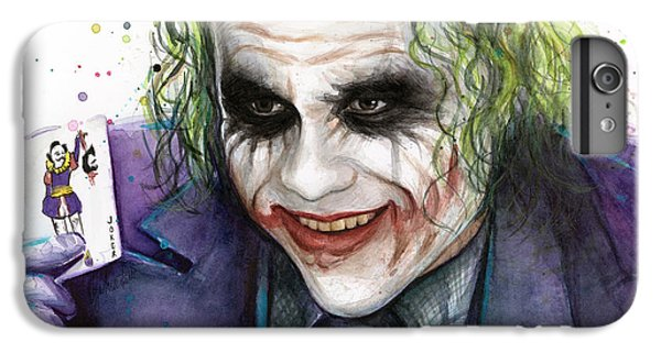 Joker Watercolor Portrait IPhone 6s Plus Case by Olga Shvartsur